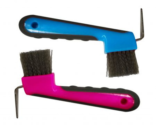 """Brush hoof pick with grip dots meaures 6"""" long."""