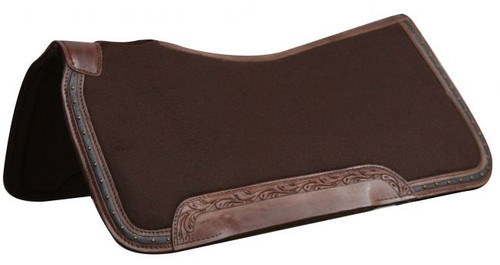"""31"""" x 32""""  100% Wool top, memory felt bottom saddle pad with leather trim."""