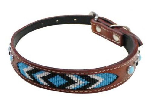 Showman Couture ™ Genuine leather dog collar beaded inlay.