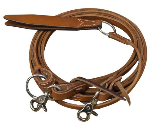 Showman ® Argentina cow leather romal reins with leather popper.