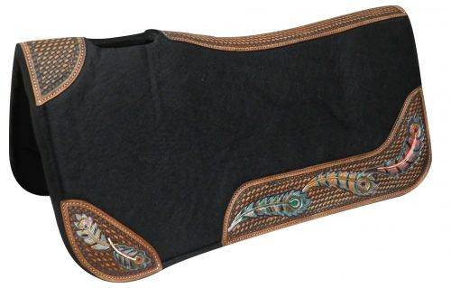 "Showman ® 32"" X 31"" Contoured felt bottom saddle pad with painted wear leathers."