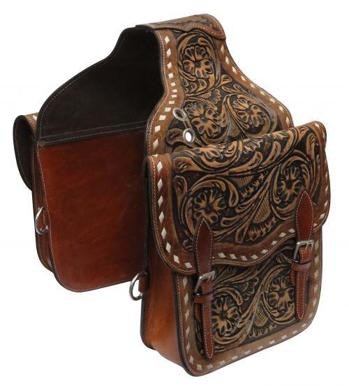 Showman ® Tooled leather saddle bag