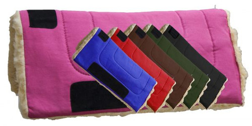 """Showman™  32"""" x 32"""" Heavy Canvas top pad features Kodel fleece bottom with suede leather wear leathers"""