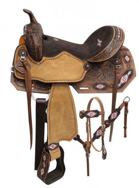 """14"""", 15"""", 16"""" Double T  Embroidered Navajo saddle set."""