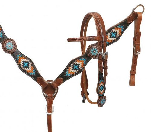 Showman® Navajo embroidered headstall and breast collar set.