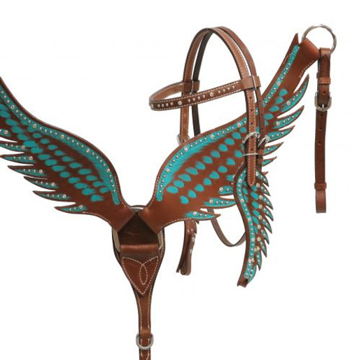 Showman ® Teal angel wing headstall and breast collar set.