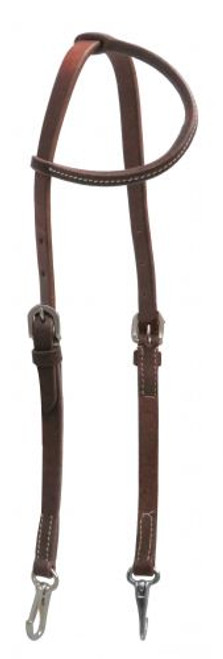 Showman ® Oiled leather one ear headstall with stainless steel snaps.