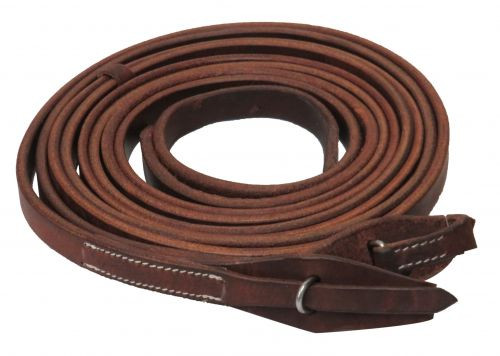 """Showman ® 8ft X 3/4"""" Oiled harness leather split reins with quick change bit loops. Made in America."""