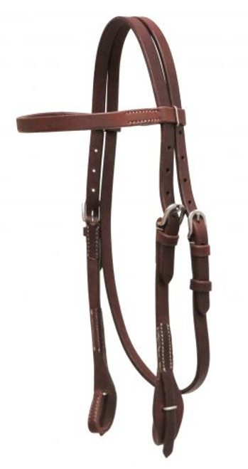 Showman ® Oiled harness leather headstall with quick change bit loops.