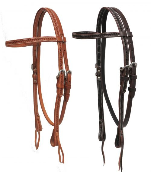 Showman ® Argentina cow leather basket weave tooled headstall.