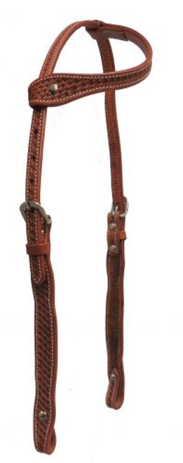 Showman ® Argentina cow leather single ear headstall with basket weave tooling.