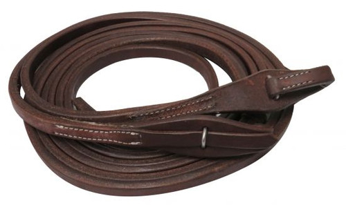 """Showman ® 8ft X 5/8"""" Oiled harness leather split reins with quick change bit loops. Made in America."""