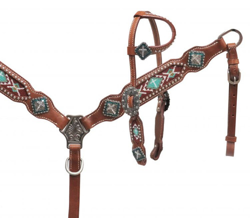 Showman ® PONY One ear headstall with teal beaded inlay.