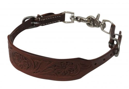 Showman ® PONY Floral tooled wither strap with scissor snaps.