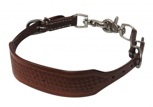 Showman ® PONY basket tooled wither strap with scissor snaps.