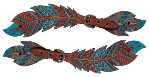 Showman® Ladies Cut- out teal painted feather spur straps.
