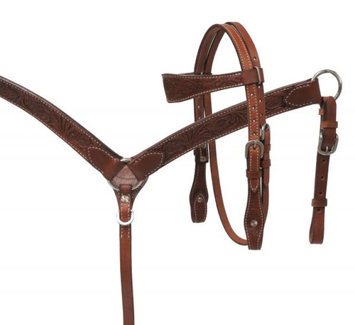 Showman ® MINI floral tooled headstall and breast collar set.
