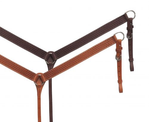 Showman ® Argentina cow leather breast collar with basket tooled design.