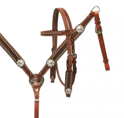 Showman ® PONY headstall and breast collar set with silver conchos.