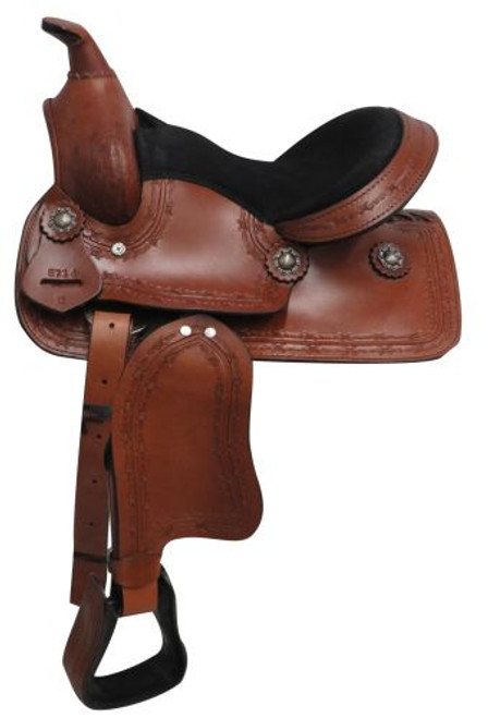 "12"" Economy Pony/Youth saddle with barbed wire design."