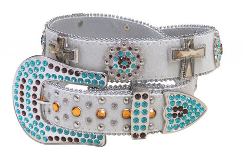 Showman Couture ™  Western style bling belt with removable rhinestone buckle.
