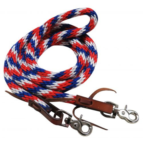 """Showman ® 96"""" Red, white and blue braided nylon barrel style reins with scissor snap ends."""