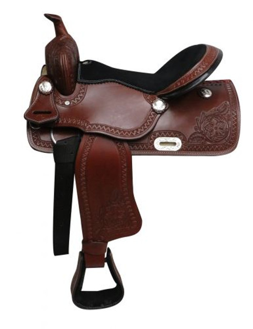 """16"""" Economy style western saddle with floral tooling."""