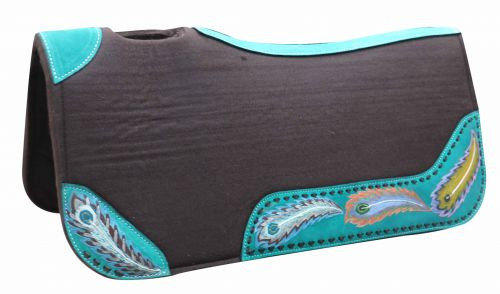 """Showman ® 31"""" x 32"""" x 1"""" Brown felt saddle pad with hand painted peacock design."""
