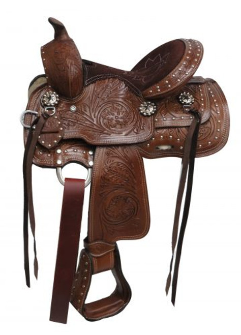 """10"""" Double T  Youth saddle with floral tooling and silver studs."""