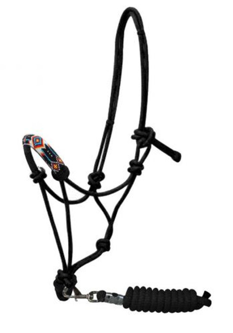 Showman ® Beaded nose cowboy knot rope halter w/7' lead