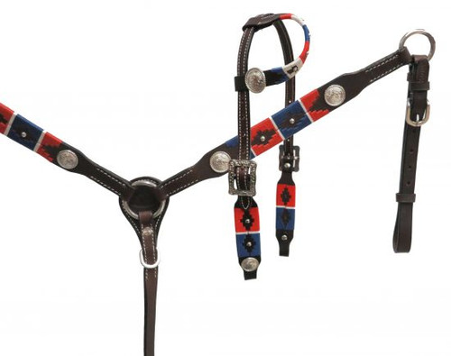 Showman ® PONY wrap embroidered headstall and breast collar set