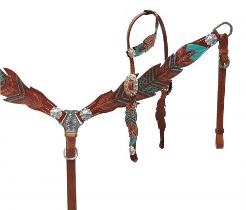Showman® Cut- out teal painted feather headstall and breast collar.