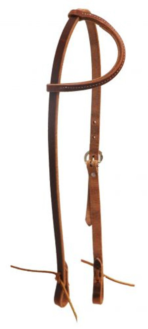 American made oiled harness leather sliding one ear headstall with tie ends. Made in the U.S.A.