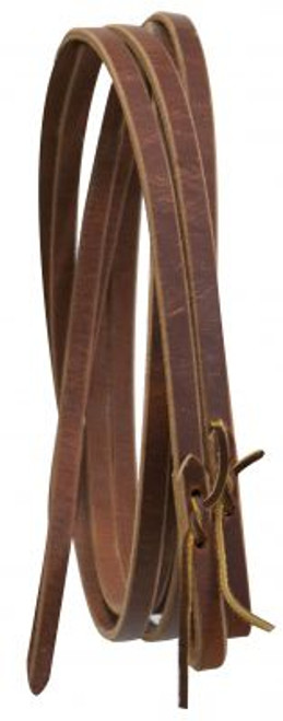 """5/8"""" leather reins with water loop ends. 8 ft long. Made in USA."""