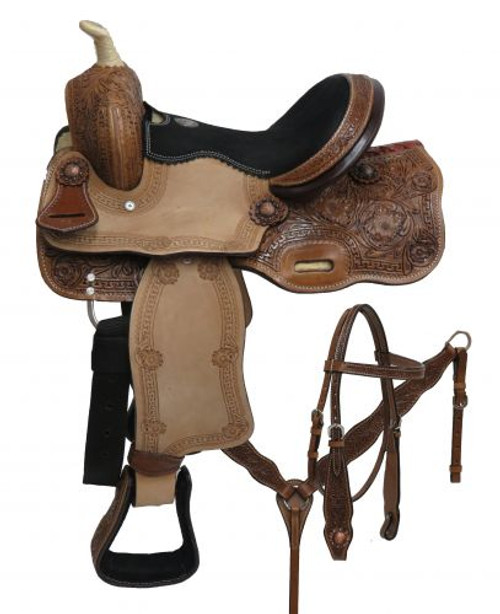 "12"" Double T pony saddle set with floral tooling."