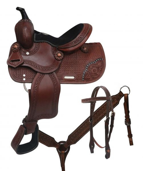 "10"" Double T pony saddle set with basket tooling."