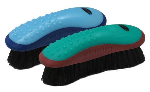 Showman® Extra soft horse hair finishing brush with grip dot handle.