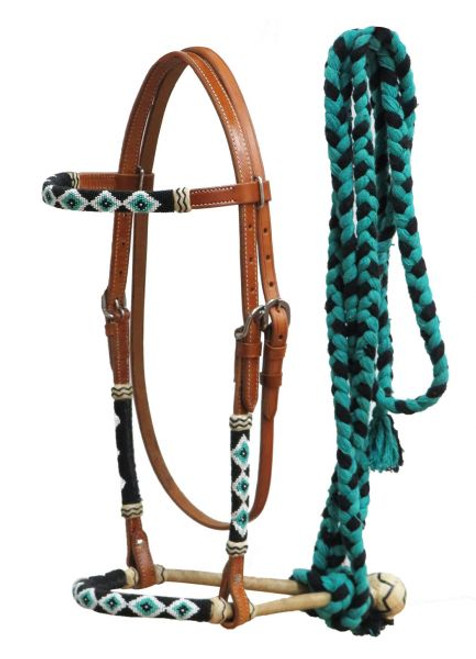 Showman® Leather bosal headstall with beaded overlays and teal cotton mecate reins.