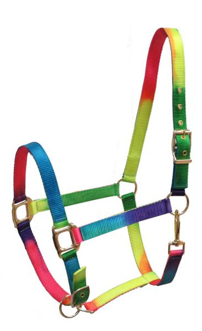 Showman ® Full Size Neon rainbow halter with adjustable nose.