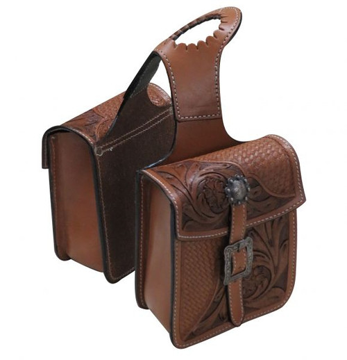 Showman ® Tooled leather horn bag with floral and basket weave tooling.
