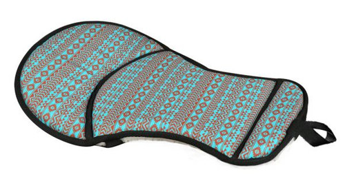 Showman ® Teal and brown Navajo diamond print seat saver with fleece bottom.