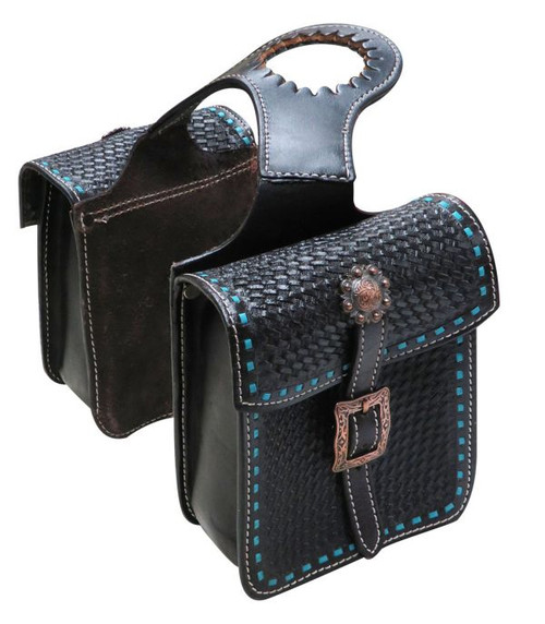 Showman ® Tooled leather horn bag with teal buck stitch.