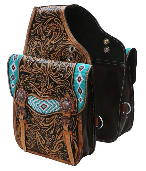 Showman ® Tooled leather saddle bag with beaded inlay.