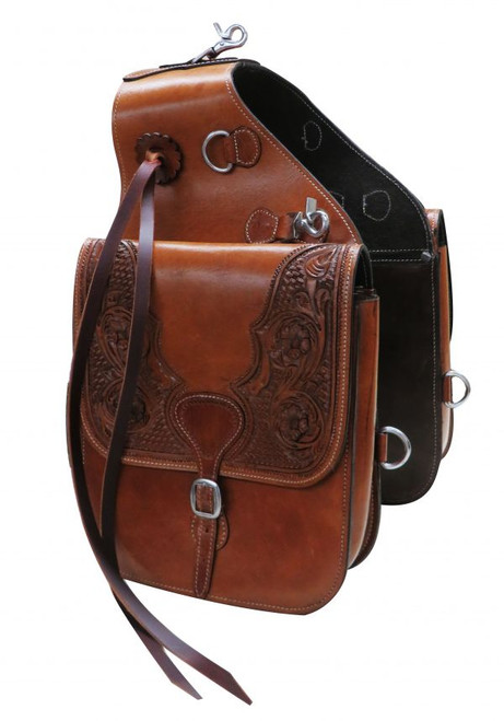 Showman ® Tooled leather saddle bag with snaps.