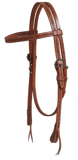 Showman ® Argentina cow leather headstall with barbed wire tooling.  This headstall features double stitched Argentina cow leather with a tooled barbed wire design and engraved copper hardware.