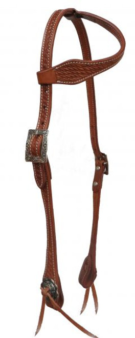 Showman ® Argentina cow leather headstall with basket weave tooling.