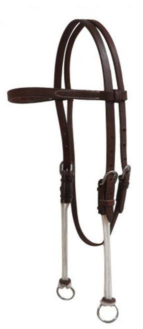 Showman® Gag headstall made of American oiled harness leather.