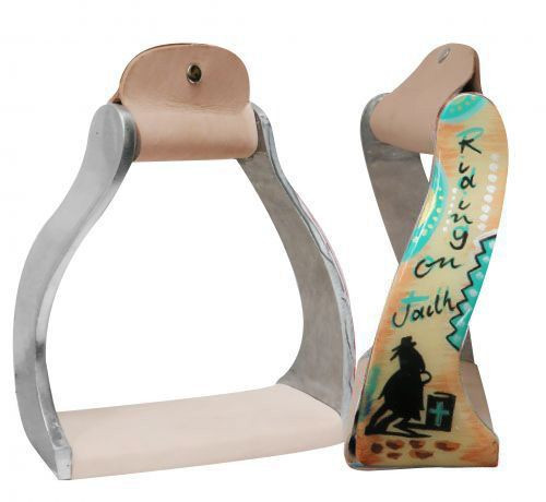 """Showman ® Lightweight twisted angled aluminum stirrups with painted """"Riding on Faith"""" design."""
