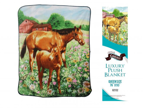 """Showman Couture ™ Luxury plush blanket with mare and foal print. Queen Size 76"""" x 93"""""""