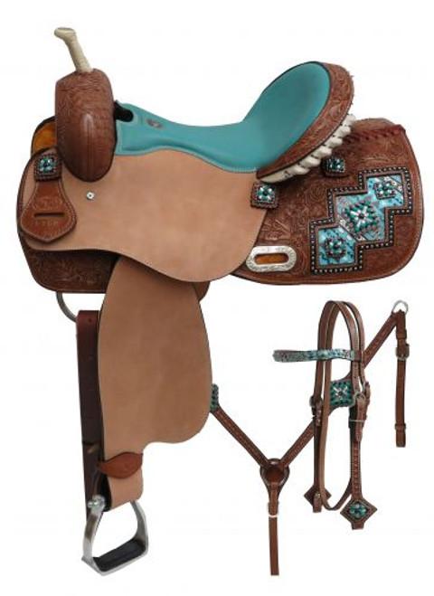 "14"", 15"", 16"" Double T "" Arctic Aztec"" print barrel style saddle set."